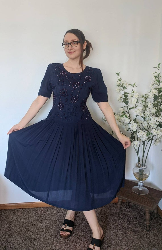 Blue Dress Beaded Rayon Vintage 80s 90s S India