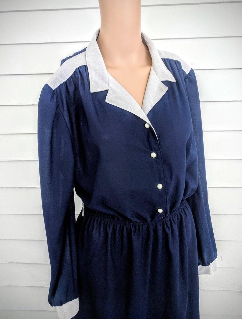 Sheer Dark Blue Dress Retro Casual Long Sleeve 70s Franky Vintage M