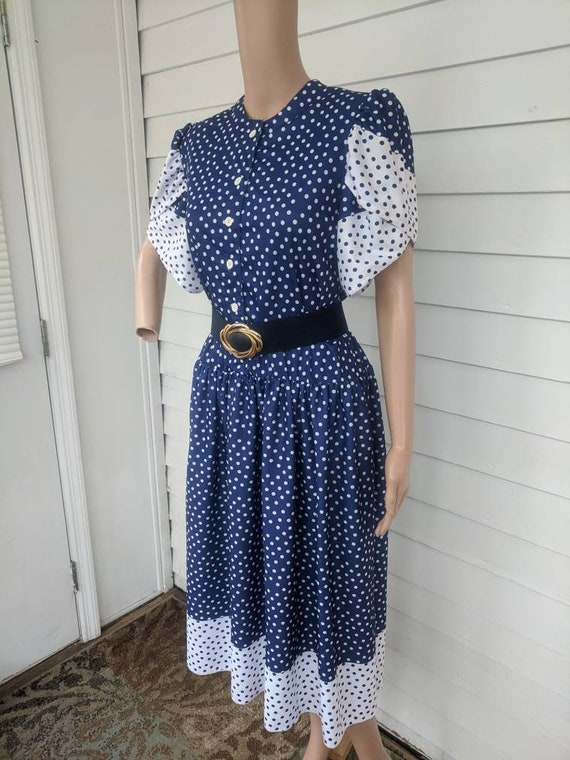 80s Polka Dot Dress Retro Blue 1980s Vintage L - image 1