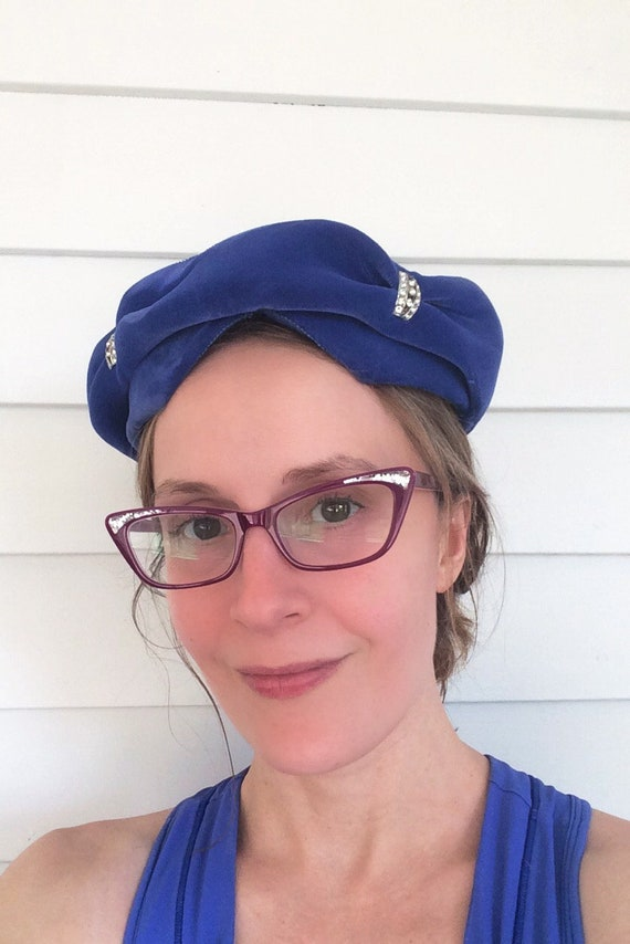 Blue Velvet Hat Vintage 50s 1950s