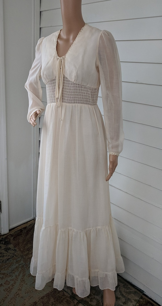Ivory Gown 70s Prairie Victorian Maxi Long Sleeve