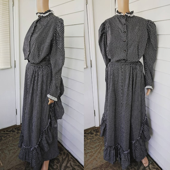 Black Victorian Style Dress Prairie Western Skirt