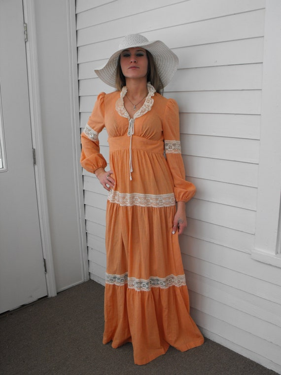 Prairie Dress Gunne Sax Style 70s Vintage Orange … - image 1