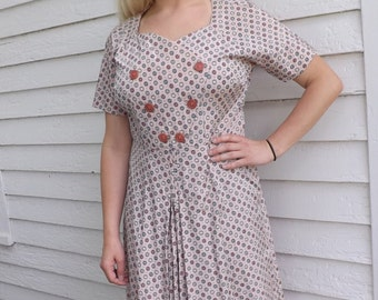 50s Pink Print Dress Floral 1950s Plus XL XXL Vintage 42 Bust 35 Waist