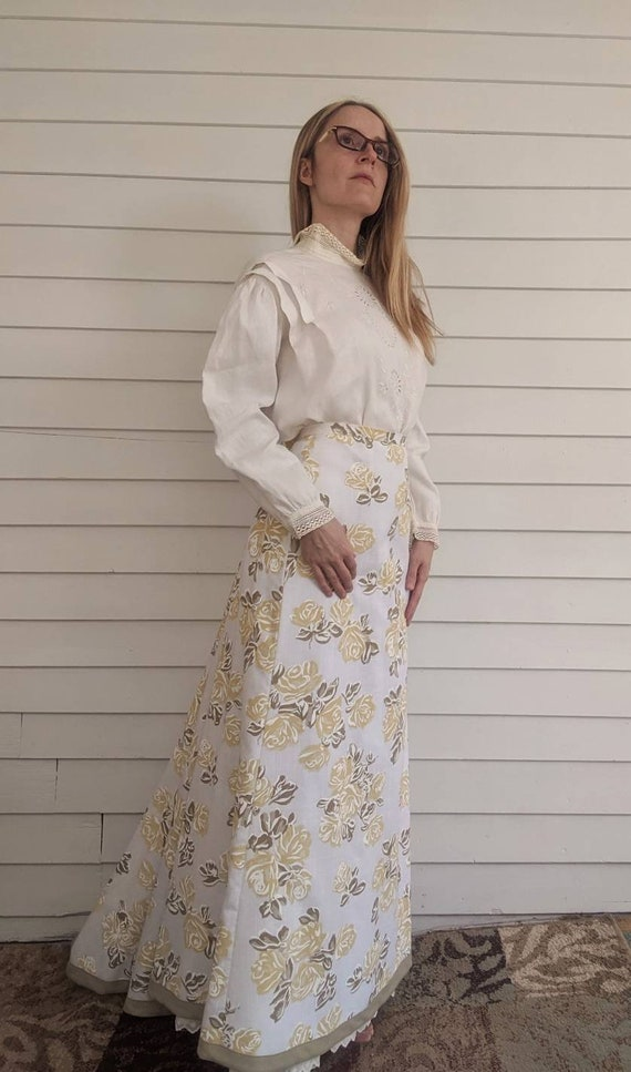 Antique Edwardian Blouse Eyelet Embroidered Butto… - image 9