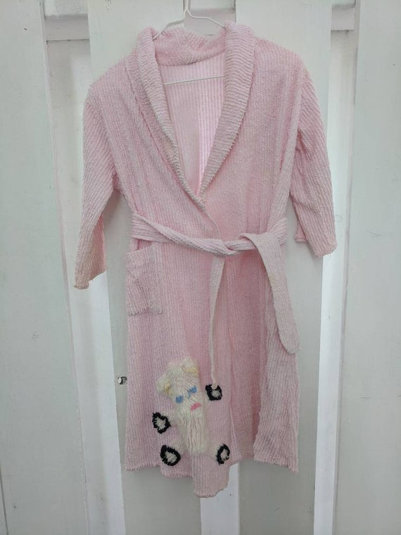 50s Pink Chenille Robe White Bear Childs 50s Girls