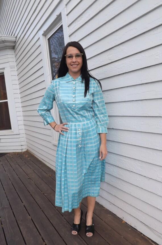 50s Blue Plaid Dress Print 1950s Vintage Toni Todd