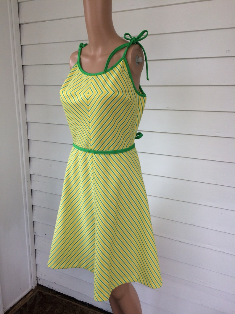 469bfc0a2f4 Yellow Chevron Striped Dress 70s Vintage Summer S