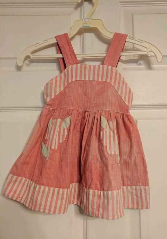 40s Baby Girls Red Dress Striped Floral With Hat S
