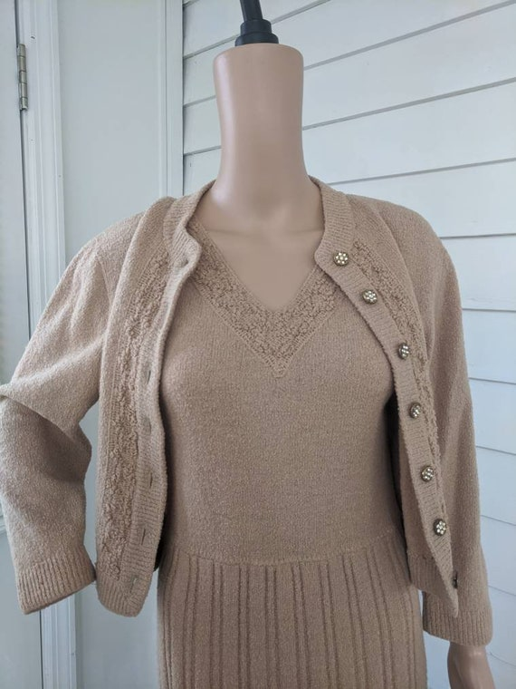 40s Sweater Knit Dress Set Vintage Tan Wool Barbar