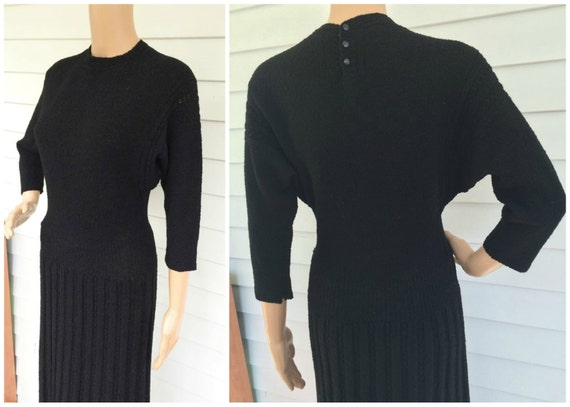 40s Black Knit Dress 1940s Vintage Long Sweater Wo
