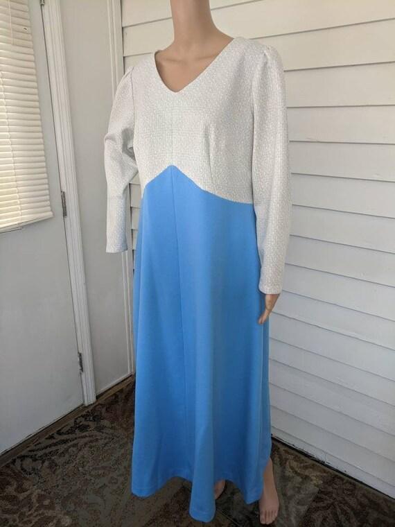 Silver Blue Mod Metallic Dress Long Polyester Gown