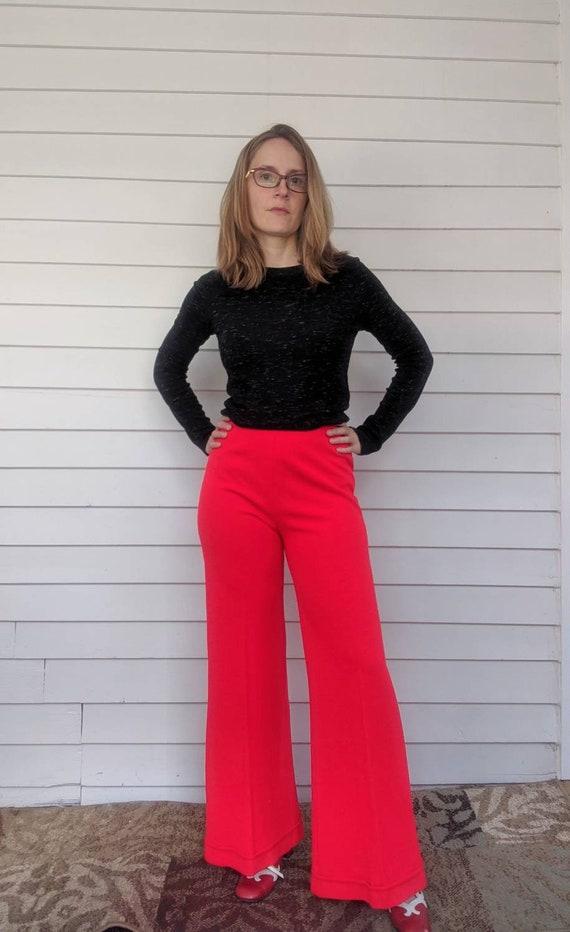 70s Red Bellbottom Pants Acrylic High Waist Retro