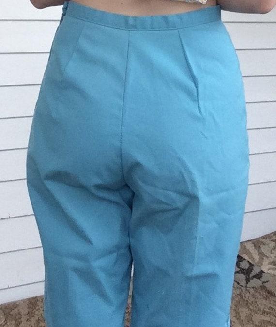 60s Bright Blue Vest Spring Summer XS S Misses Vintage