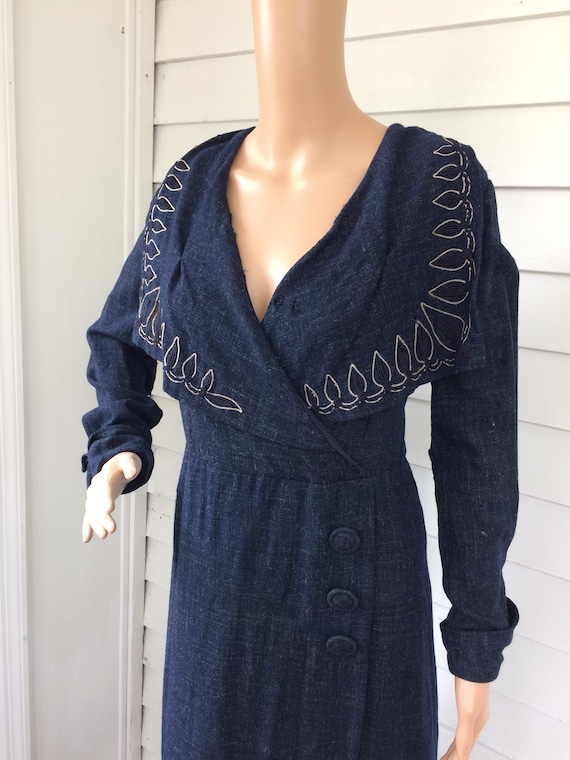 Vintage 30s Dark Blue Dress Large Collar NRA Eagle