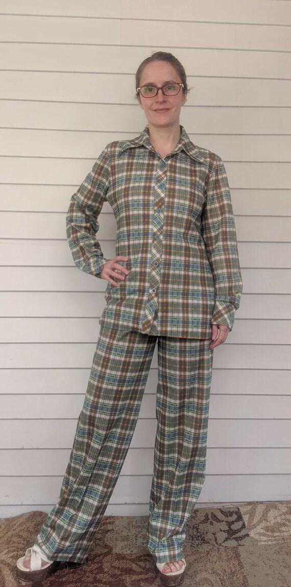 Plaid Pant Suit 70s Polyester Vintage S M Jantzen
