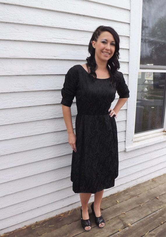 60s Black Dress Designer Cocktail Party Evening H… - image 6