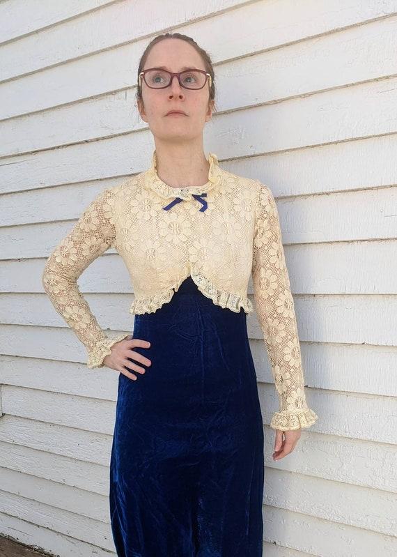 Lace Velvet Dress Floral Ivory Blue Hippie Formal