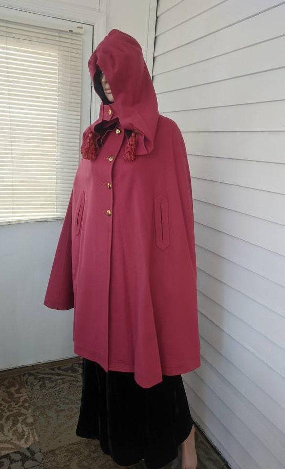 Antique Pink Hooded Cloak Cape Vintage Jacket 20s… - image 9