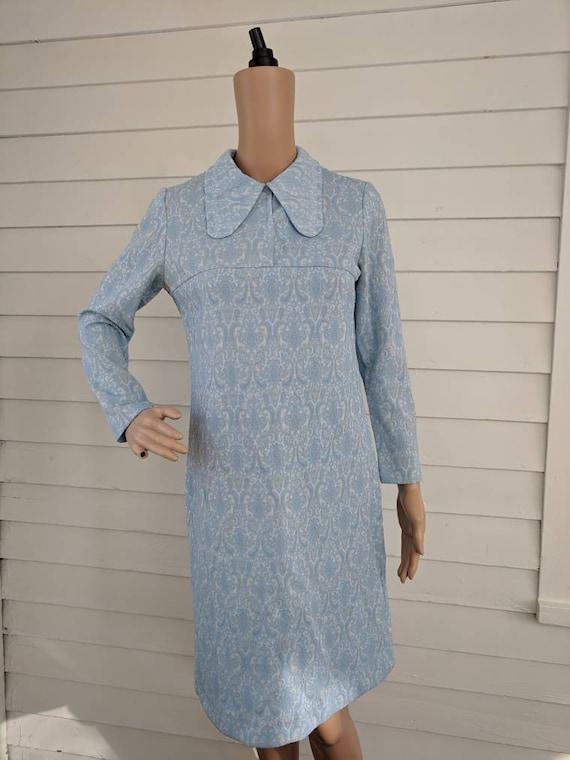 Blue Mod Dress Long Sleeve Dog Ear Collar Vintage