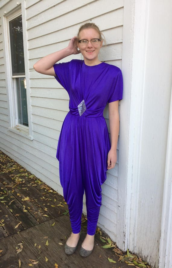 Purple Jumpsuit Harem Pant 80s Party Genie Hallowe