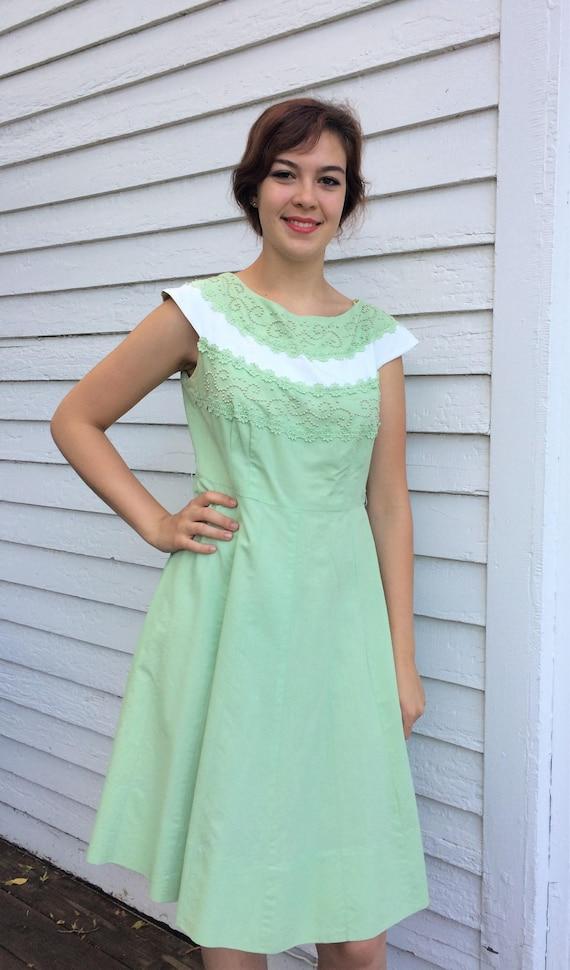 Pastel Mint Green Dress 50s Vintage Beaded Westove