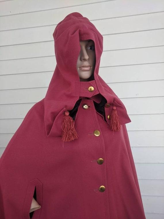 Antique Pink Hooded Cloak Cape Vintage Jacket 20s… - image 6