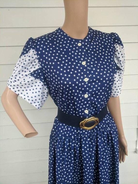 80s Polka Dot Dress Retro Blue 1980s Vintage L - image 2
