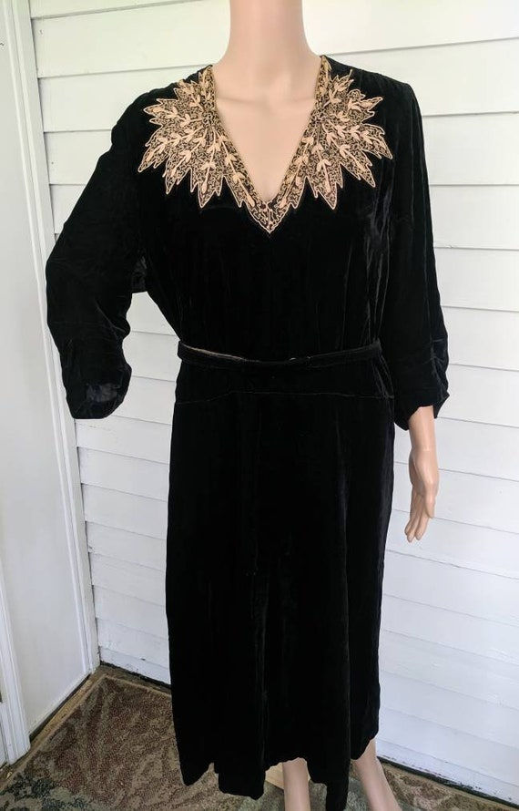 30s 40s Black Velvet Dress Senior Miss Vintage M L