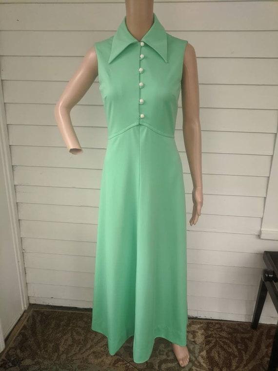 Light Green Dress Maxi Mint Vintage 70s S - image 5