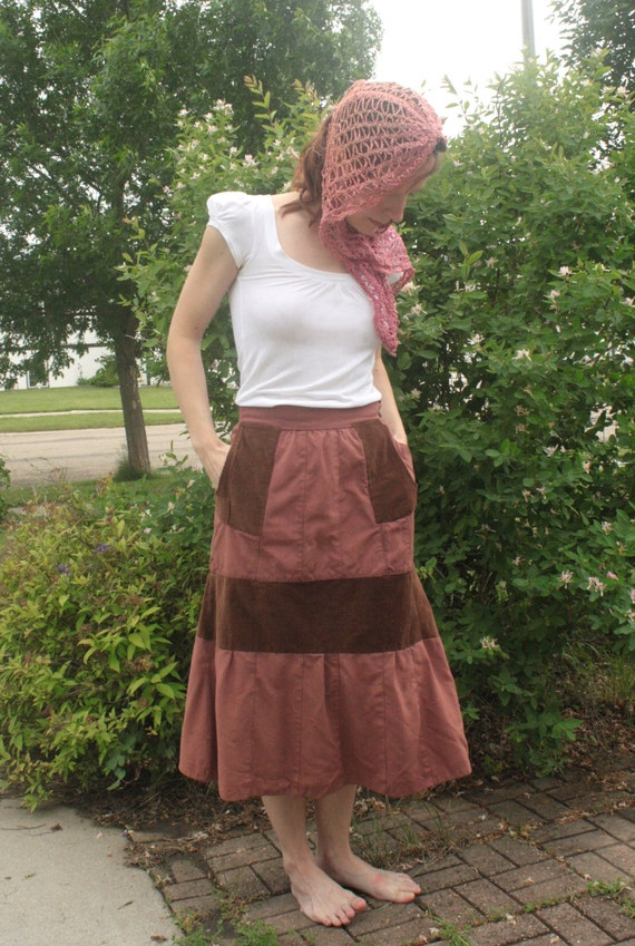 Vintage Skirt 30s 40s Casual A Line Panels Corduro