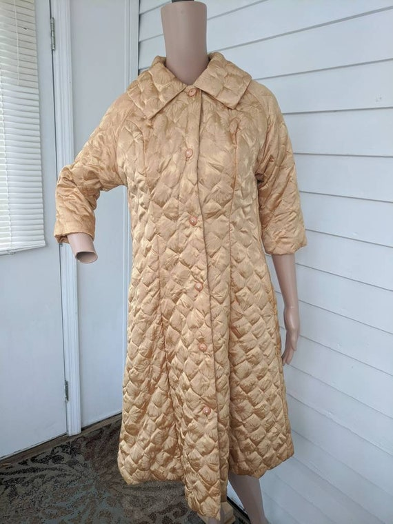 Quilted Gold Robe Bedjacket Dressing Gown 60s Vin… - image 8