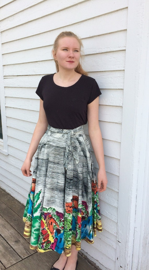 50s Mexican Skirt Wrap Painted Village Scene Cuern