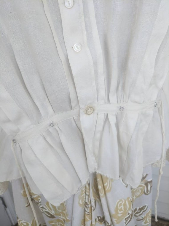 Antique Edwardian Blouse Eyelet Embroidered Butto… - image 5