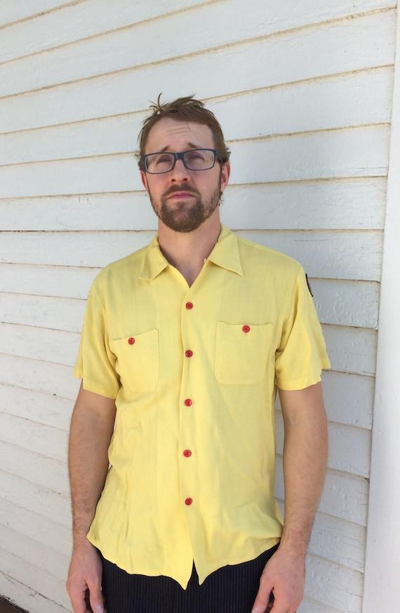 50s Yellow Bowling Shirt Air Flo Mens Short Sleeve