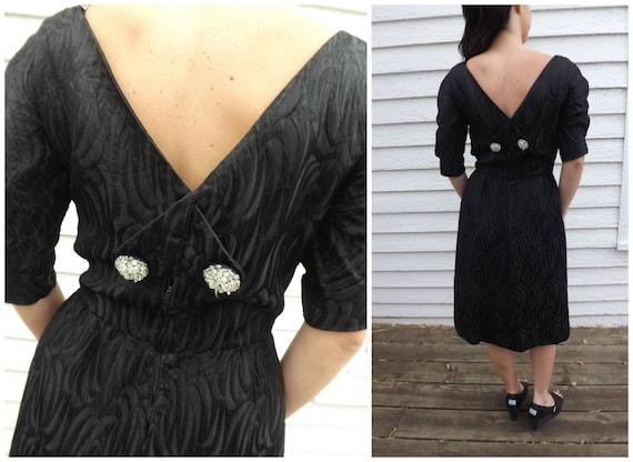 60s Black Dress Designer Cocktail Party Evening H… - image 3