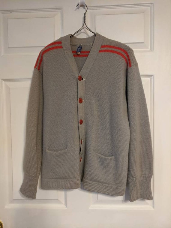 30s 40s Gray Red Striped Cardigan Sweater Mens Al… - image 1