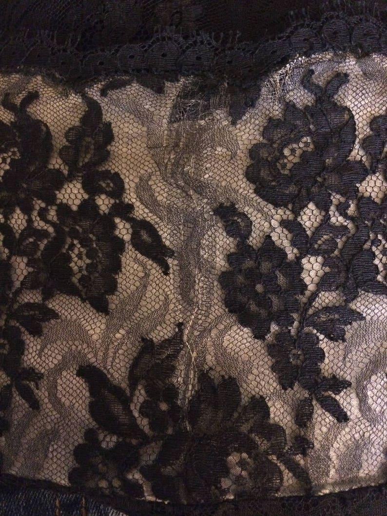 50s Cocktail Dress Black Lace Vintage 1950s XL L