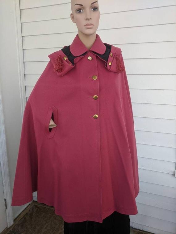 Antique Pink Hooded Cloak Cape Vintage Jacket 20s… - image 4