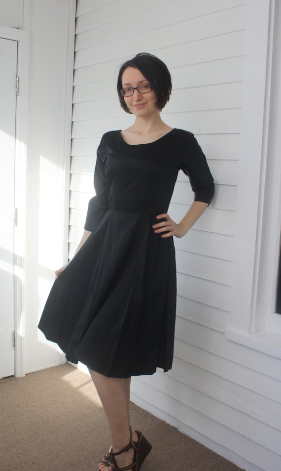 50s Black Party Dress Cocktail Full Skirt Joan Dor