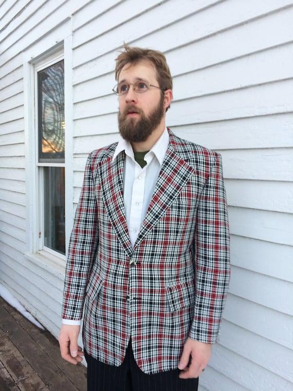 À carreaux pour homme Blazer Vintage 60 s 70 s veste sport manteau noir roux blanc mérite 40 38