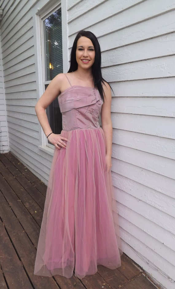 40s Pink Formal Gown Iridescent 1940s Party Prom Dress Vintage
