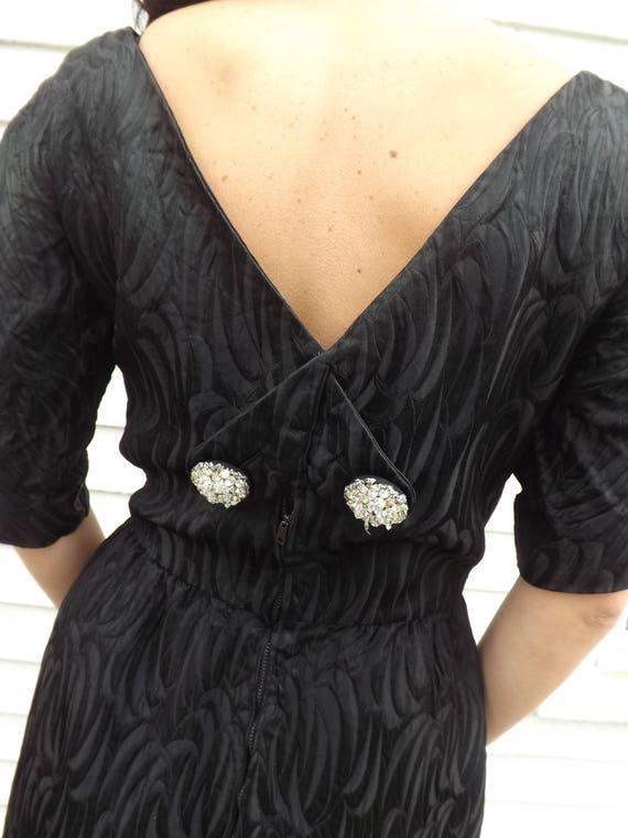 60s Black Dress Designer Cocktail Party Evening H… - image 8