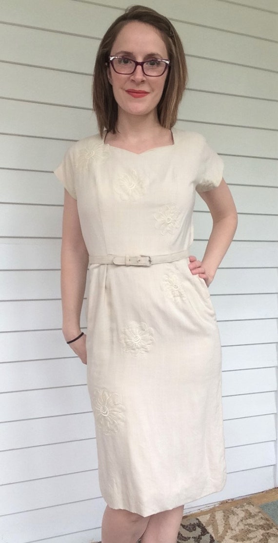 Vintage 50s Neutral Dress Wiggle Bombshell Frankli