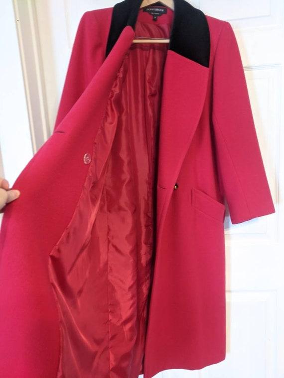 80s Red Winter Coat Wool Donnybrook Velvet Trim R… - image 3