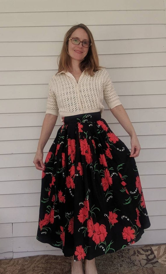 50s Rose Print Skirt Black Red Floral Full Long Vi