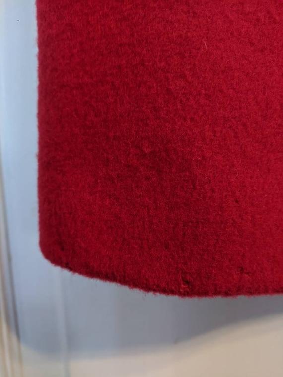 80s Red Winter Coat Wool Donnybrook Velvet Trim R… - image 9