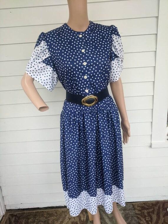 80s Polka Dot Dress Retro Blue 1980s Vintage L - image 4