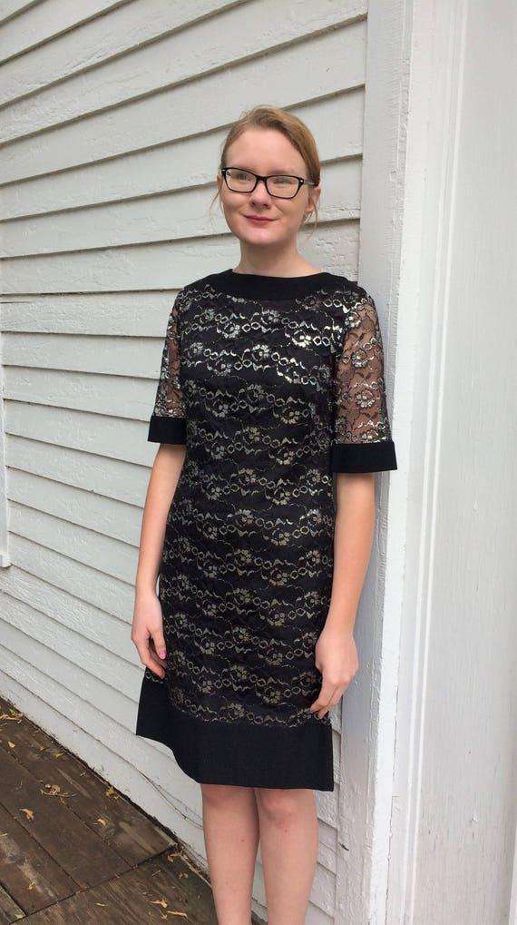 60er Jahre Schwarz Silber Spitze Kleid Vintage Partei Kleid