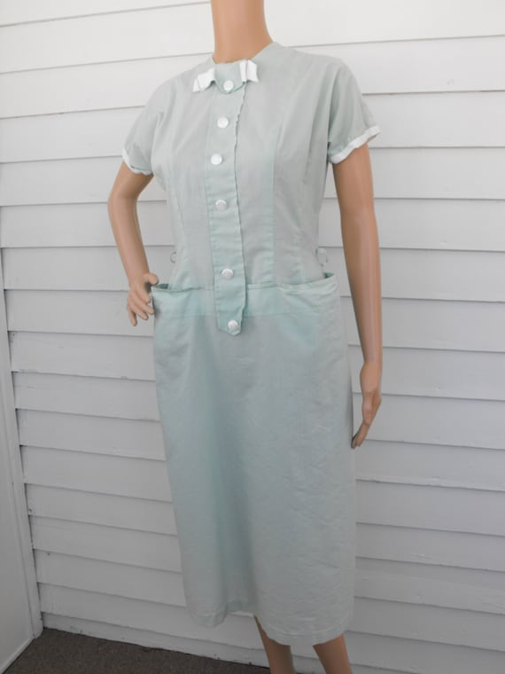 Pale Green 50s Dress Spring Summer Vintage Cotton